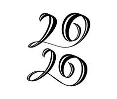 Handtecknad vektor bokstäver kalligrafi svart nummer text 2020. Gott nytt år hälsningskort. Vintage julillustration design