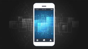 Smart telefon skärm som visar digital kretskort bakgrund.