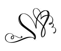 Handritad två hjärtat kärlekstecken. Romantisk kalligrafi vektor illustration. Concepn ikon symbol för t-shirt, hälsningskort, affisch bröllop. Design platt element av valentinsdagen