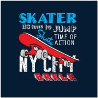New- York Cityschlittschuhläufervektorillustration Skateboardvektordruck. vektor
