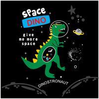 Weltraum-Dinosaurier-Vektor-Illustration für Kindermode vektor