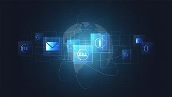 Globale Netzwerkverbindung, digitale Leiterplatten und Ikonenhintergrund.