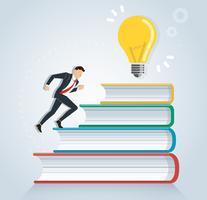 erfolgreicher Geschäftsmann, der auf Büchern zur kreativen Designvektorillustration der Glühlampe, Bildungskonzepte läuft