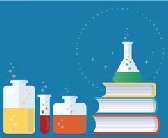 det färgstarka laboratoriet fyllt med en klar vätska och böcker vektor illustration, utbildning begrepp