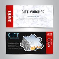 Geschenkgutscheine und Gutscheine, Rabattkupon oder Fahnenweb-Schablone mit nachgemachtem Hintergrund der Marmorbeschaffenheit.