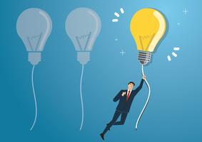 affärsman som håller en glödlampa som flyger på himlen, kreativa koncept