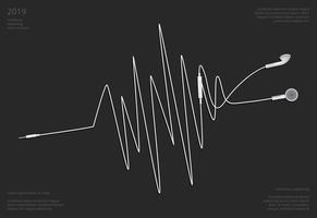 Konceptuella hörlurar med telefon vektor illustration