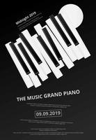 Musik-Flügel-Plakat-Hintergrund-Schablonen-Vektorillustration