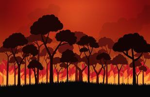 Skogsbränder brännande träd i eld flammor - Vektor illustration