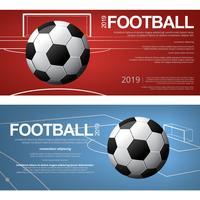 2 Banner Fotboll Fotboll Poster Vektor Illustration