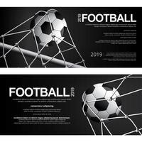 2 Fahnen-Fußball-Fußball-Plakat-Vektor-Illustration