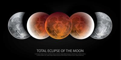Totale Sonnenfinsternis der Mond-Vektorillustration