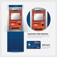 ATM-Geldautomat mit ATM-Karten-Vektor-Illustration