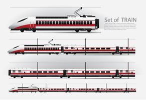 Hochgeschwindigkeitszug auf einer Eisenbahn Vektorillustration