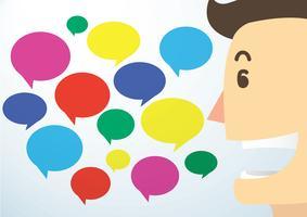 man tecknad talk och färgstark chatt box bakgrund vektor