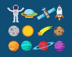 Sammlung Astronauten im Raum- und Planetenvektorsatz - Vector Illustration