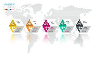 Geschäftshexagonaufkleber formen infographic Gruppenstange.