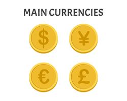 Huvudvaluta mynt symboler uppsättning isolerad på vit bakgrund