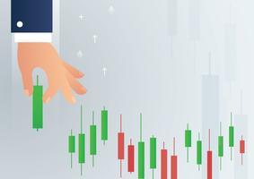 Hand, die einen Börsenikonenvektor des Kerzenständerdiagramms hält