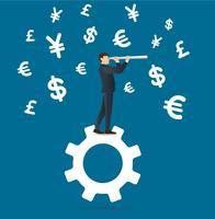 affärsman tittar genom ett teleskop som står på kugghjulsymbolen och pengar symbol ikonbakgrund vektor