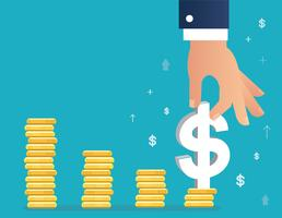 hand som håller dollar ikon på mynt graf, affärsidé illustration vektor