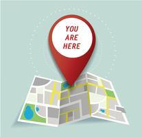 Sie sind hier, Pin-Standort-Symbol und Kartenvektor, das Konzept der Reise