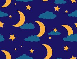 Nahtloses Muster des Mondes und des Sternes auf Hintergrund des nächtlichen Himmels - Vector Illustration