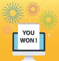 Sie gewannen Pop-up auf Bildschirmcomputer und gelbem Hintergrund, erfolgreiche Geschäftskonzeptillustration vektor