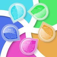 Färgglada fem etiketter transparens infografiska.