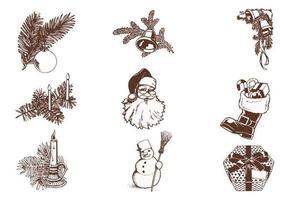 Weinlese-Weihnachtsvektor-Satz