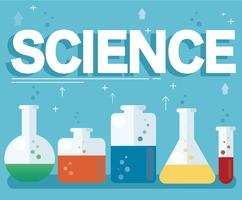 Wissenschaftstext und buntes Labor füllten mit einer klaren Flüssigkeit und einem blauen Hintergrund