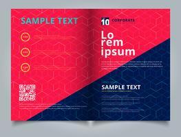 Mall broschyr layout design abstrakt kubemönster på mörkblå bakgrund. Digitala geometriska linjer kvadratiska nätet. Du kan använda för bipacksedel, flygblad, årsrapport, utskrift.