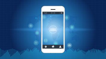Smart telefonskärm med bakgrunden för den globala nätverksanslutningen.