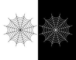 Weiße und schwarze Farbe der Spinnennetzvektorikone auf weißem und schwarzem Hintergrund - Vector Illustration