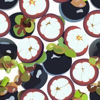 Nahtloser Hintergrund der Mangostanfruchtvektorkunst. vektor