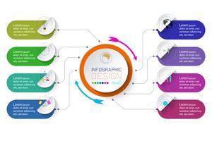 Business infographic med 8 steg. vektor