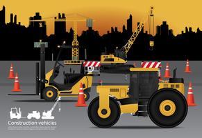 Baufahrzeuge eingestellt mit Gebäude-Hintergrund-Vektor-Illustration