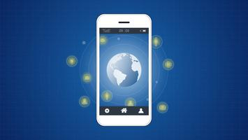 Smartphone-Bildschirm mit Hintergrund der globalen Netzwerkverbindung.