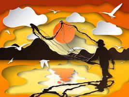 Schattenbild des Mannes die Fische in der Dämmerung auf Papierausschnittkunst fangend.