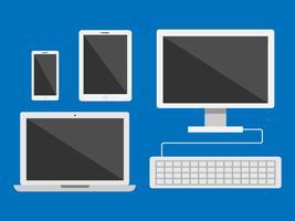 Vektorsatz der elektronischen Geräte lokalisiert auf blauem Hintergrund
