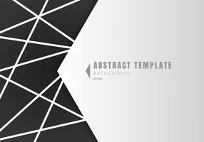 Mall abstrakta vita geometriska formpolygoner med linjekomposition på svart bakgrund