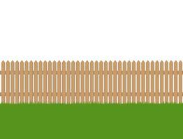 Sömlös av trä staket och grönt gräs isolerad på vit bakgrund vektor