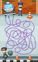 Spielschablone mit Polizei und Verbrecher vektor