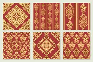 Ställ in samling av sömlöst damaskmönster. Guld och röd konsistens