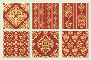 Stellen Sie Sammlung des nahtlosen Damastmusters ein. Gold und rote Textur