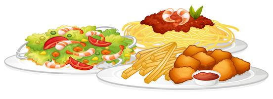 Sats med mat på vit bakgrund vektor