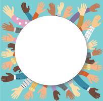 Höjda händer volontärarbete och blå bakgrund vektor koncept