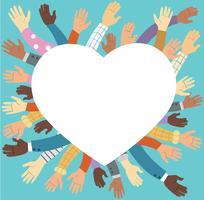 Freiwillig erbietende angehobene Hände und blaues Hintergrundvektorkonzept