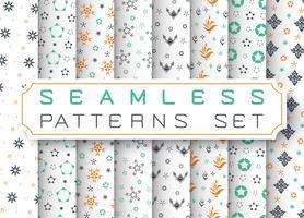 Seamless Geometric Patterns Set. Vektor illustration.