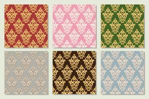 Ställ in samling av sömlösa damastmönster i olika färger.